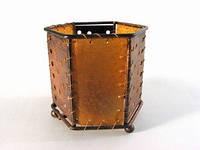 Шестиграник Кожа, металл / Подсвечник-тилайт 8 см