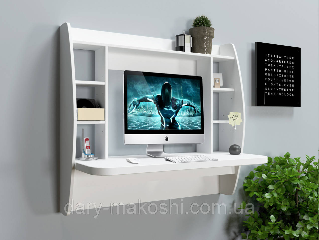 Навесной компьютерный стол ZEUS AirTable-I WT (белый)
