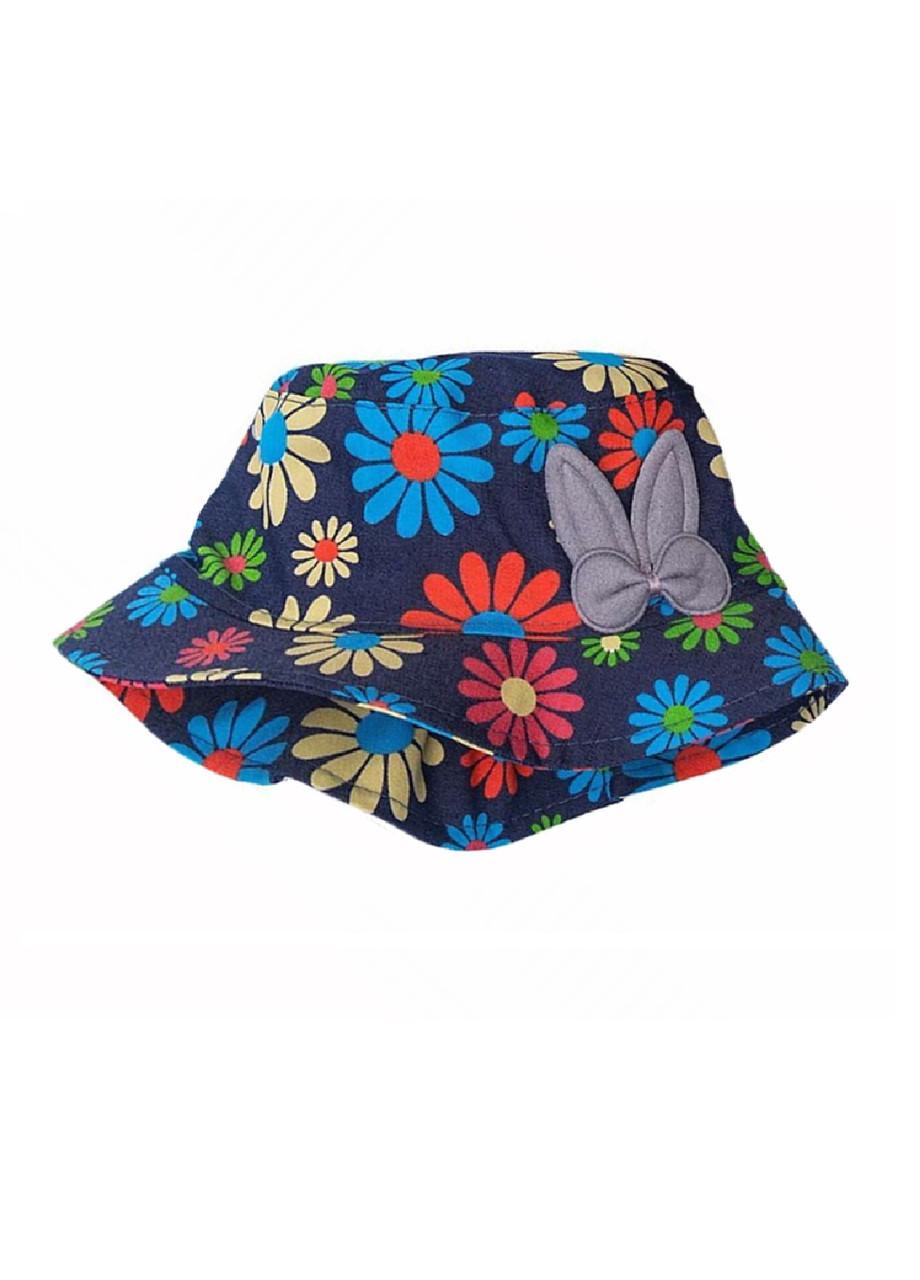 Панамка джинсова для дівчинки літня з квітами