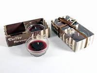 Свеча Арома / Свеча в стакане / 2 шт / Стаканчик кофе / Сердце 7x7x3 см