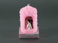 Жених и Невеста Цилиндр  Розовая / Свеча свадебная 10x7x7 см