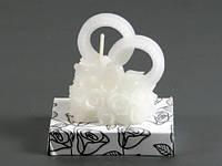 Обручальные кольца Сердце Белая / Свеча свадебная 6x5x3 см