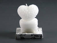 Сердце на сундуке Белая / Свеча свадебная 7x6x3 см
