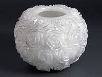 Шар Розы Белая / Свеча свадебная 14x14x10 см