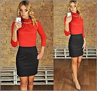 Женское красивое платье с украшением (3 цвета)