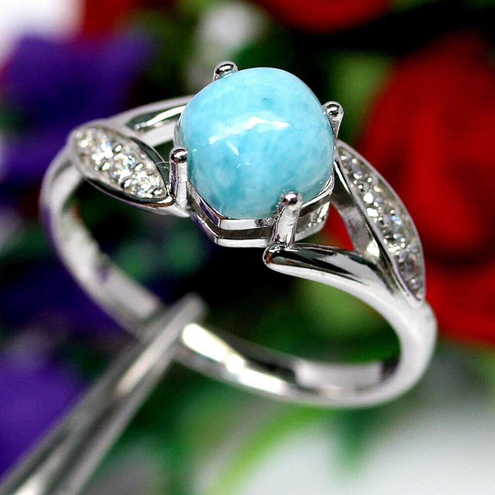 Серебряное кольцо с ларимаром и цирконом, 1731КЛ