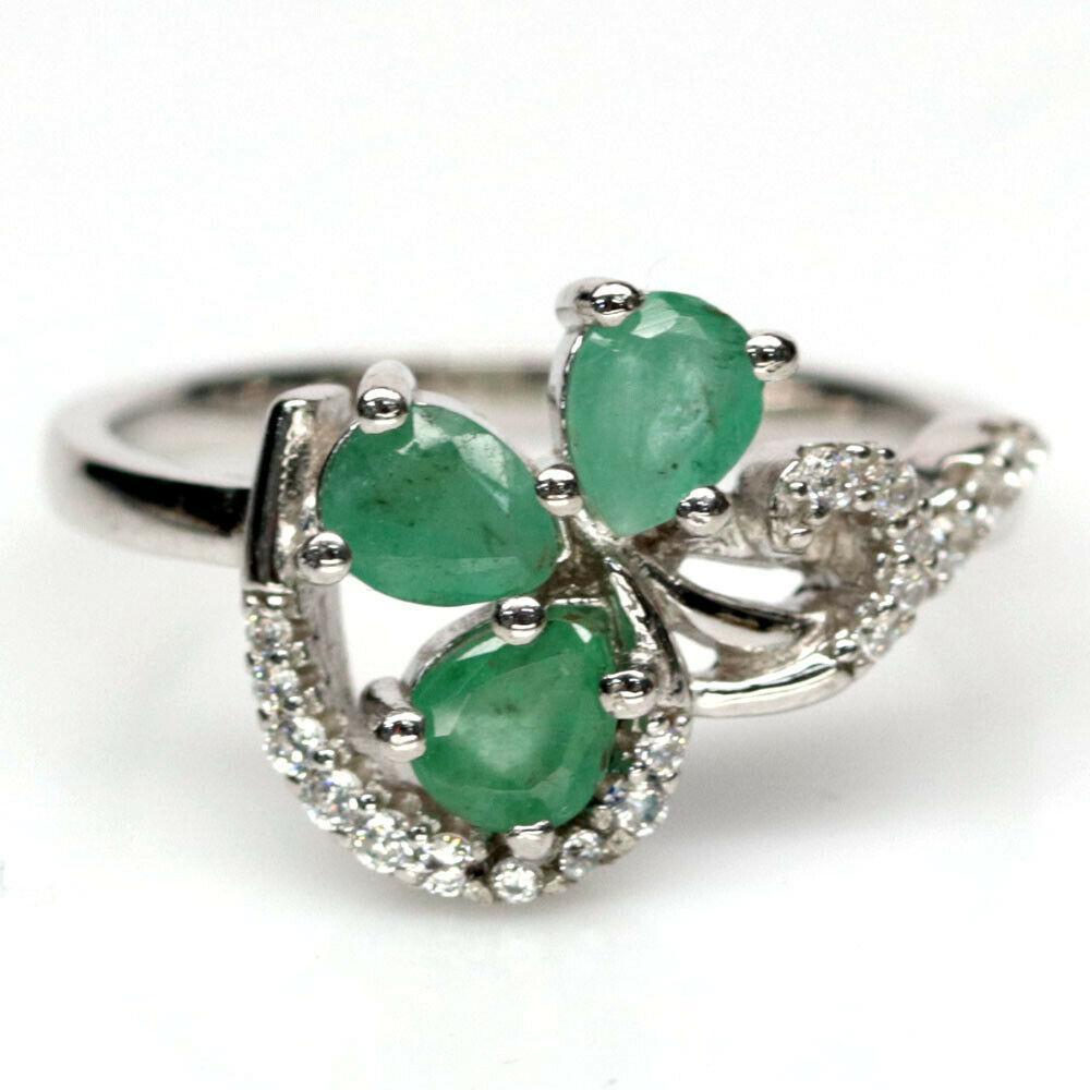 Серебряное кольцо с изумрудом, 1735КИ