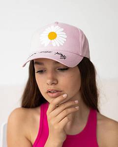 Літня кепка для дівчаток котон рожева оптом - Ромашка