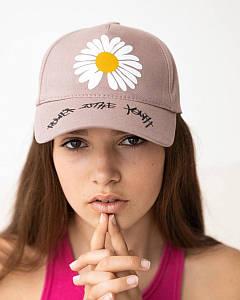 Літня кепка для дівчаток котон темно-бежева оптом - Ромашка