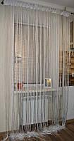 Нитяні штори (серпанок) оранжево-біла., фото 1
