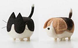 Набор Сделай сам Кот и собака. Игрушки из шерсти. Шерстяные игрушки. Игрушки из войлока. Игрушка из шерсти