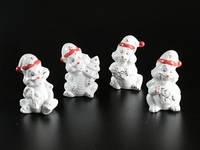 Фарфоровая фигурка / Дракон-Дед Мороз / Набор 4 шт / 4 вида / 7,5 см 7x5x5 см