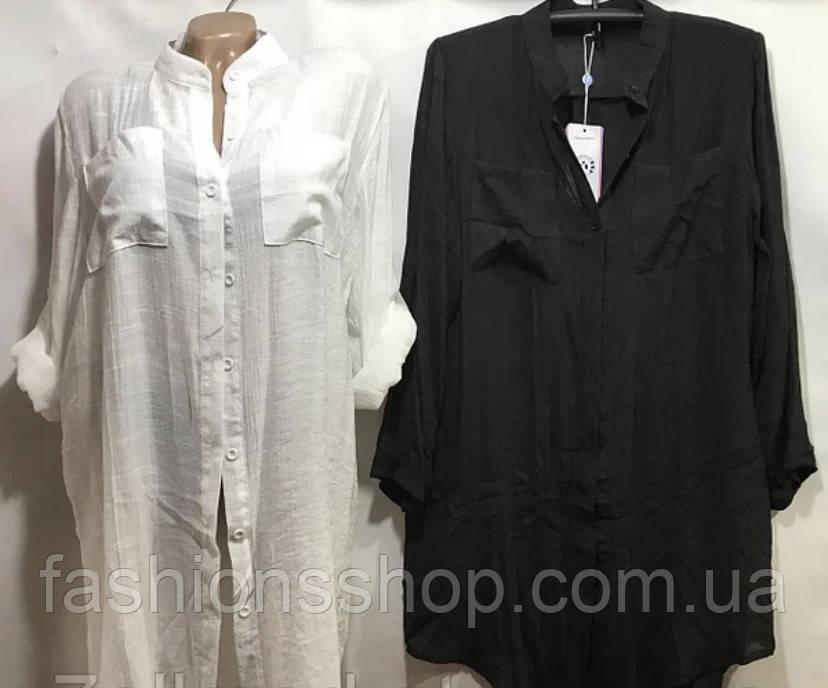 Женская туника , пляжная на пуговицах, размеры Xl цвет чёрный, белый