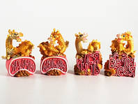 Дракон с пожеланием Золотой / Копилка пластиковая 10x6x4 см