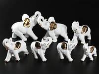 Фарфоровая фигурка / Слоны / Золотые уши / Набор 7 шт / 13 см / Белый 13x12x6 см