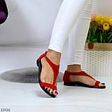 Босоножки женские красные натуральная замша, фото 5
