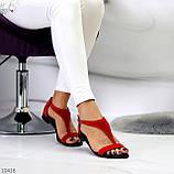 Босоножки женские красные натуральная замша, фото 6