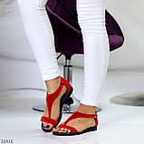 Босоножки женские красные натуральная замша, фото 8