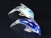 Фигурка стеклянная / Дельфинчик мал / Два цвета 11x7x5 см