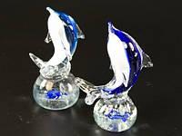 Фигурка стеклянная / Дельфинчик на волне /  Два цвета 15x8x6 см
