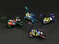 Кот Хвост крючком / Фигурка стеклянная 8x4x3 см