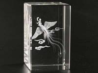 Птица Феникс / Лазерная голограмма в хрустале 8x5x5 см
