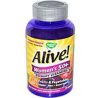 Жевательные витамины для женщин 50+, 75 жевательных мармеладок, Nature's Way, Alive!