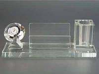 Настольная Подставка Хрустальная / Часы, визитница, для ручки / 20 см 20x7x6 см