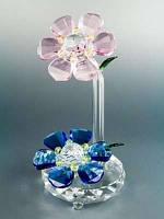 Цветок хрустальный / Два цветочка - 6-ти лепестковые / Двуцветные / 15 см 15 см