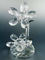 Цветок хрустальный / Два цветочка - два листочка / Прозрачный / 15 см 15 см