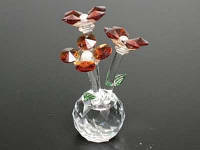 Цветок хрустальный / Три цветочка  / на Шаре / 10,5 см / Тёмно-Янтарный 10x5x5 см