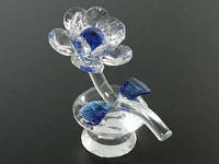 Цветок хрустальный / Цветок на Бриллианте / 12 см / Синий 12x10x6 см