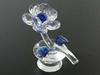 Цветок на Бриллианте Синий / Цветок хрустальный 12x10x6 см