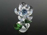 Цветок хрустальный / Цветочек в горшочке / 10 лепестков / 10 см / Синий 10x7x5 см