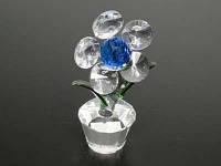 Цветочек в горшочке Пять лепестков Синий / Цветок хрустальный 11x5x4 см
