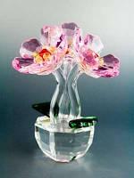 Цветок хрустальный / Три цветка в горшке / 13 см 13 см