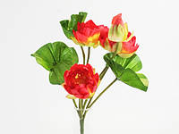 Букет / Лотосы / 0,37 м / 3 цветка, 1 бутон, лягушка, 3 листа / Красный 37x20x20 см
