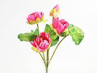 Букет / Лотосы / 0,37 м / 3 цветка, 1 бутон, лягушка, 3 листа / Малиновый 37x20x20 см