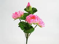 3 цветка, 1 бутон, лягушка, 3 листа / Розовый / Букет / Лотосы / 0,37 м 37x20x20 см