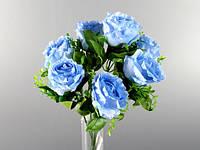 7 цветов / 42 листа / Голубой / Букет / Розы / 0,30 м 30x15x15 см