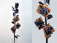 Роза / Gloss Black / 1,14 м / 5 цветков / 8 листьев / Черно-Красно-Золотой 130 см