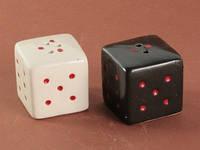 Набор Для Специй / Солонка и Перечница из керамики. Игральные Кости / Чёрный и Белый 9x4x4 см