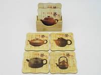 Квадрат / Чайники / Подставки для чашек / бамбук / 6шт 10 см