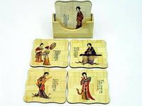 Подставки для чашек / бамбук / 6шт / Квадрат / Девушки 10 см