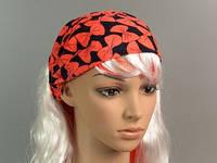 Повязка для Волос / Резинка / Черный фон, бантики / Оранжевый 29 см