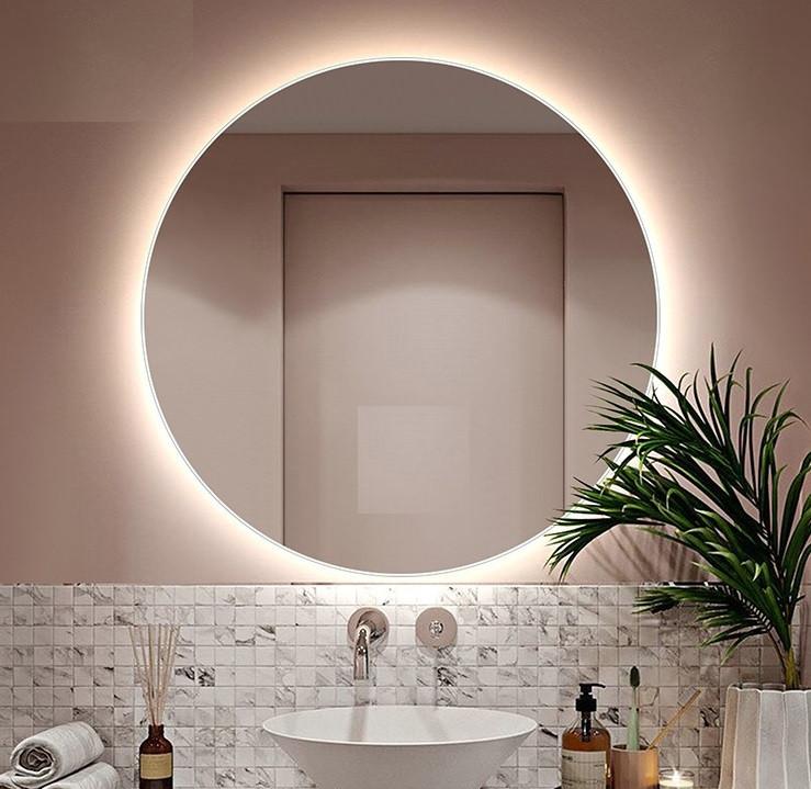 Акция! Круглое зеркало с Led подсветкой для ванной 700 мм. Зеркало парящее со светодиодной Лед подсветкой.