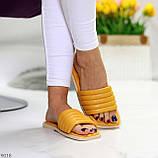 Шльопанці жіночі жовті/ гірчичні з квадратним носком еко - шкіра, фото 2