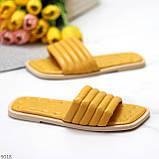 Шльопанці жіночі жовті/ гірчичні з квадратним носком еко - шкіра, фото 3