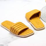 Шльопанці жіночі жовті/ гірчичні з квадратним носком еко - шкіра, фото 5