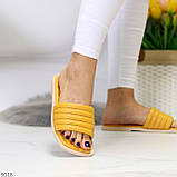 Шльопанці жіночі жовті/ гірчичні з квадратним носком еко - шкіра, фото 6